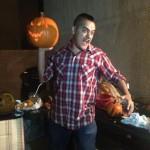 arturo chavez of greasy conversation with a pumpkin